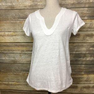 Boden White Linen Short Sleeved Top, Size XS
